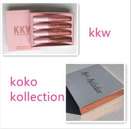 2017 New HOT SALE KKW X KYLIE collaboration Set Of 4 Creme Liquid Lipsticks Pink Kimberly kim kiki kimmie collection