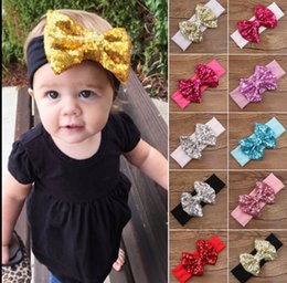 Accessoires de cheveux pour les bébés filles en Ligne-Baby Mermaid Sequin Headbands Glitter Headwrap Bow Headdress Fille Accessoires Cheveux Turban Knot Headwear 13 design KKA1114