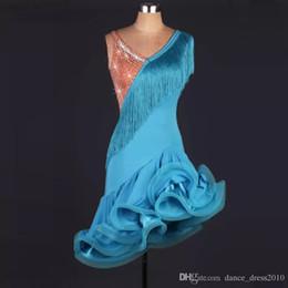 A86 New Adult Latin Dance Dress Salsa Tang Cha cha Ballroom Competition Group Dance Dress 2Color S-XXL Customizable