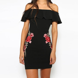 Women Black White Sexy Off Shoulder Embroidery Party Dresses Rose Applique Ruffle Elegant Bodycon Mini Dress DK1670LY