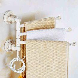 Wholesale European style designed Hot selling Luxury Wall Mounted white Movable Bath Towel Bars Bathroom Swivel Towel Rack rail Holder