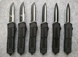 Wholesale MICROTECH Black Scarab HRC blade Aviation aluminum steel grit handle outdoor tactical camping utility hiking knives Christmas gift