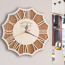 Wholesale Wooden Wall Clocks Murals Designs Simple Europe Style Living Room Bedroom Hanging Wall Clocks Silent Second Movement