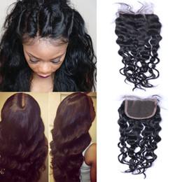 Resika Free Shipping 4x4 Lace Closure Natural Wave Clsosure Brazilian Virgin Human Hair Free Middle Three Part Closure Curly Natural Color