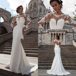 2019 New Designer Bohemian Milla Nova Lace Mermaid Wedding Dresses Sheer Long Sleeves Beach Bridal Gowns Simple Cheap Wedding Gowns Boho