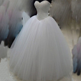 Bling Ball Gown Corset Puffy Wedding Dress Beades Sequins Crystals Top Sweetheart Sleeveless Lace up Back Tulle Wedding Dress Bridal Gown