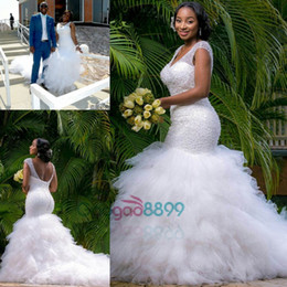 Sexy African Country Mermaid Cathedral Train Wedding Dresses 2019 Modest Sparkly Ruffles V-neck Trumpet Wedding Gowns Plus Size