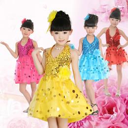 3 color Girls Sequined Veil Skirt ballet Children Performance Clothing Latin Princess Dress Dance Wear Flower girl Free Shipping 2017 New F