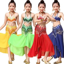 Tops+Dress+Belt Sequined Girls Belly Dance Costume Bollywood Indian dancing Dress Dancing For Girls Ballroom Performance dancing Outfits