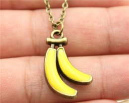 Wholesale WYSIWYG vintage antique bronze color enamel banana pendant necklace