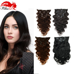 "Hannah product Clip In Wavy Human Hair Cilp In Extensions Human Hair Clip On Extensions 10-26"" Real Natural Hair Clip Body Wave"