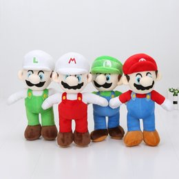 In Stock 10inch 25cm Cartoon Super Mario Bros Stand MARIO & LUIGI Plush Toy Stuffed Doll Baby Toys