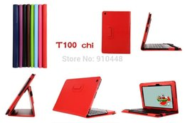 Wholesale New Litchi pattern PU leather Tablet Keyboard Station stand holder case cover for ASUS Transformer Book T100 Chi T100chi quot