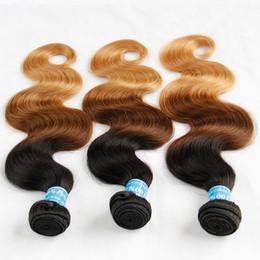 Ombre Peruvian Virgin Human Hair Extensions Body Wave Three Tone 1B 4 27# Black Brown Blonde Ombre Peruvian Human Hair Weave Bundles