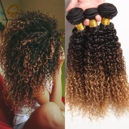 2017 27 bouclés ombre Vente en gros-7A Ombre Deep Wave Peruvian Hair 3 Bundles Remy Peruvian Hair Ombre Deep Curly 1b 4 27 Trois Tone Kinky Curly Cheveux Virgin cheveux peu coûteux 27 bouclés ombre