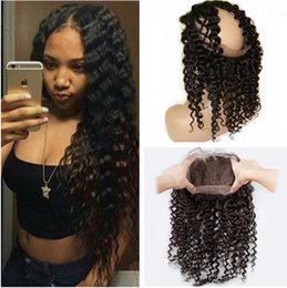 Deep Wave 360 Lace Frontal Closure With Adjustable Straps Virgin Brazilian Human Hair Full Frontal Wavy 360 Band Lace Closure Pre Plucked