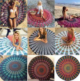 Round Mandala Beach Towels Printed Tapestry Hippy Boho Tablecloth Bohemian Beach Towel Serviette Covers Beach Shawl Wrap Yoga Mat LB26