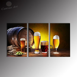No Framed Modern 3 Pieces Canvas Art Wine and Cup Painting Decor Picture Wall Panels for Restaurant Decoration