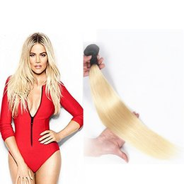 Ombre Brazilian T1b 613 Blonde Colored 100% Human Hair Weave Weft 1pcs set Unprocessed Human Wholesale Hair Bundles
