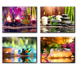 4pcs set Modern Spa Scenery Painting (No Frame) Canvas Giclee Wall Art picture for Living Room Spa Decor(Size:4 sizes)