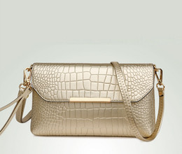 2017 New lady bag fashion crocodile pattern hand bag Simple shoulder diagonal cross small square package