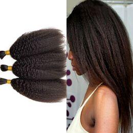 Le tressage des cheveux 12 pouces en Ligne-Kinky Straight Hair Bulks for Trushing 3 pièces / lot Indian Human Hair Bulks No Weft 8-32 inch FDSHINE HAIR