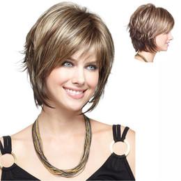 Resistente para el cabello de calor en venta-Pelucas de pelo sintético corto Peluca de Bang barata para las mujeres negras Resistente al calor Blonde con pelo libre de pelo