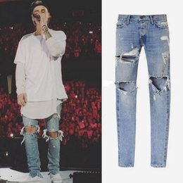 Wholesale God of Fear Best Version FOG Men Selvedge Zipper Destroyed Torn Pants Skinny Jeans Blue Jean Slim Fit Justin Bieber Fear of God