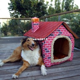 2017 grande maison pour animaux de compagnie Livraison gratuite - Pet Dog House Large / Dog Bed Lit de chat Soft -pink Brick Wall Style Pet House Large / Dog Bed / grand chien chien grande maison pour animaux de compagnie promotion