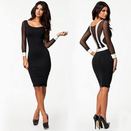 Wholesale-Fashion Autumn Winter Women's Dresses Long Sleeve Bandage Bodycon Pencil Party Dress Work Wear Midi Office Dress Vestidos