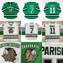 Wholesale North Dakota Fighting Sioux Hockey Jersey TJ Oshie Zach Parise blank Green University Throwback Stitched Jerseys