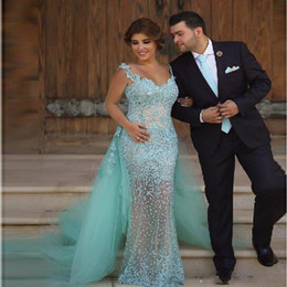 See Through Mermaid Evening Dresses With Detachable Skirt Scoop Neckline Formal Party Gowns Lace Appliques Beads Tulle Prom Dress Vestidos
