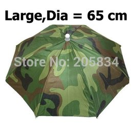 Dia = 65 cm Camouflage Foldable Headwear Sun Umbrella Fishing Hiking Beach Camping Headwear Cap Head Hats Outdoor Sport Umbrella Hat Cap