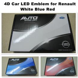 Wholesale 4D car led emblem logo symbols badge emblem V white blue red color for Rena lt size cm