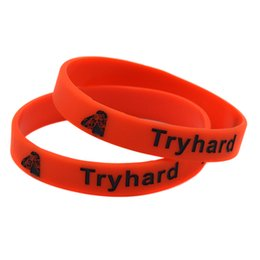 Wholesale 100PCS Lot Try Hard Silicone Wristband Bracelet Perfect To Use In Any Benefits Gift For Gamers
