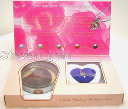 free shipping >SALE Wholesale 5 different pendants Wish Pearl Necklace Gift set box-who3622