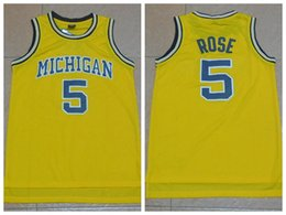 2017 maillots de sport Michigan Wolverines Jalen Rose Collège Maillots de basket-ball Remplir # 5 Jalen Rose Jerseys maillots de sport promotion