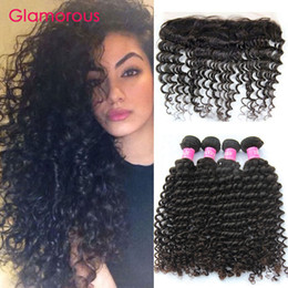 Glamorous Indian Deep Wave Curly Hair 5Pcs lot Brazilian Peruvian Malaysian Virgin Human Hair Weave with Lace Frontal Closure 13x4 Free Part