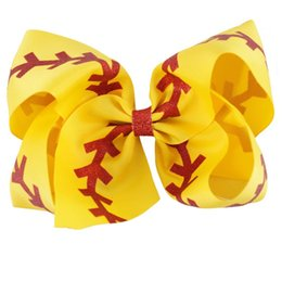 2017 les brunes 10 pcs / lot Boutique Brown Baseball ruban cheveux Bow Jumbo arc mignon pour les enfants Girl Hair Clip les brunes autorisation