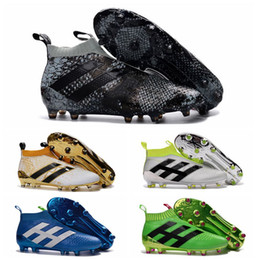 2016 Mens laceless Youth purecontrole FG AG ace 16 soccer cleats Original High Ankle Kids Boy football soccer shoes boots High Quality Gold