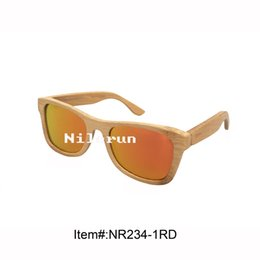 popular UV400 mirror gold lenses natural bamboo sunglasses