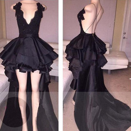 Customize Elegant Black Cocktail Dress Deep V-Neck Lace Top Layered Satin Bottom Evening Gown Sexy Short Hi-Lo Prom Dress with Long Train
