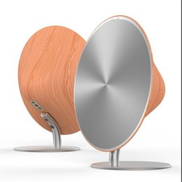 Wholesale elegent simple fashion design desktop speaker made from wood and aluminium alloy d stereo support nfc bluetooth line in