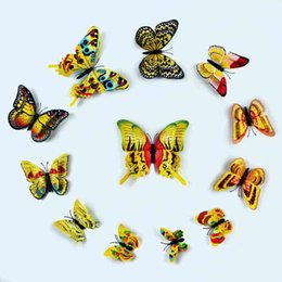 Wall Stickers Simulation 3D Butterfly 6 color Double layer Refrigerator magnet butterfly suit 3D Sticker Strong magnetic stickers