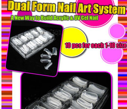 Vente en gros- 100 PCS DUAL NAIL ART SYSTÈME FORMULE UV GEL ACRYLIQUE False TIPS Salon Tools Set Nouveau BEMLP à partir de fabricateur