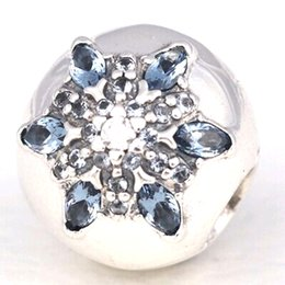 Wholesale 2016 Christmas S925 Sterling Silver Crystallised Snowflake Clip Charm Bead with Cz Fits European Pandora Style Jewelry Bracelets Necklace