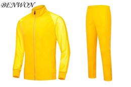 Wholesale Benwon Blank soccer tracksuits thai quality full sleeve football jackets men s training suit outdoor sportswear winter long pants
