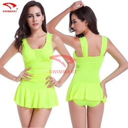 free shipping 2017 skirt piece body cover belly thin waist gathered together hot spring girl swimsuit sexy conservative piece swimsuit