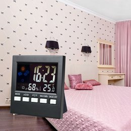 Wholesale Mini Digital Large Backlight Color LCD Screen Voice activated Weather Display Clock Thermometer Hygrometer Calendar Alarm Clock