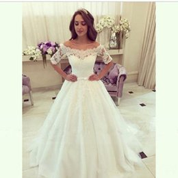Princess A Line Wedding Dress New 2017 Short Sleeve Tulle Sash Lace Bridal Gowns Custom Made Draped Romantic Off Shoulder Fashion